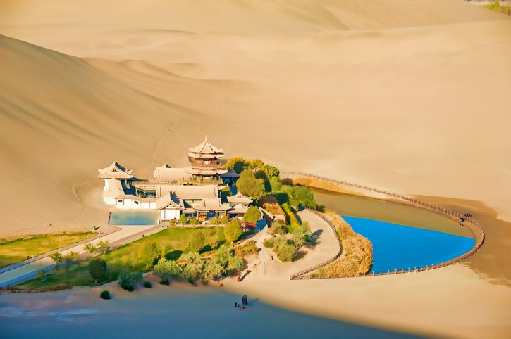 Crescent Spring and Mingyue Pavilion in the morning, Dunhuang China - visit China