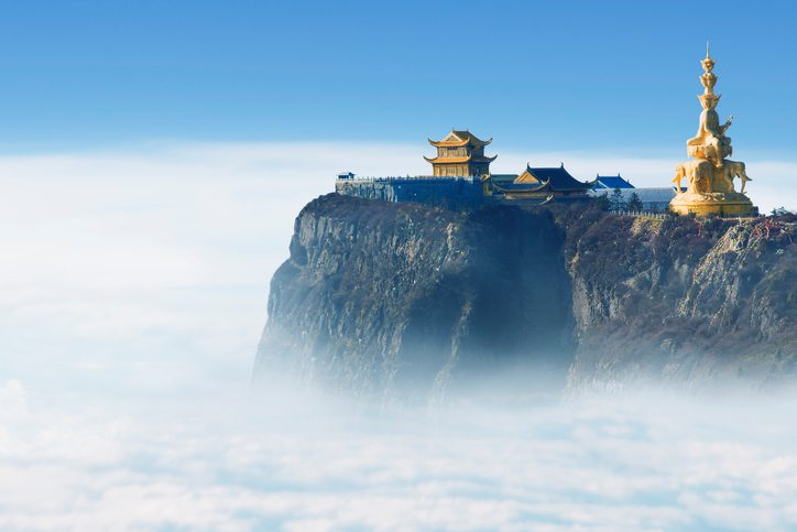 Emeishan Jinding temple at 3000m above sea level in Sichuan, China