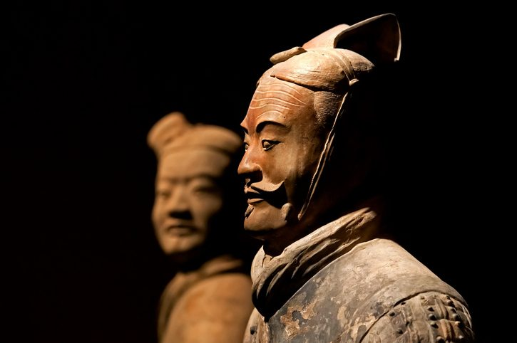 Clay statue of Chinese Qin dynasty soldier - China Tour