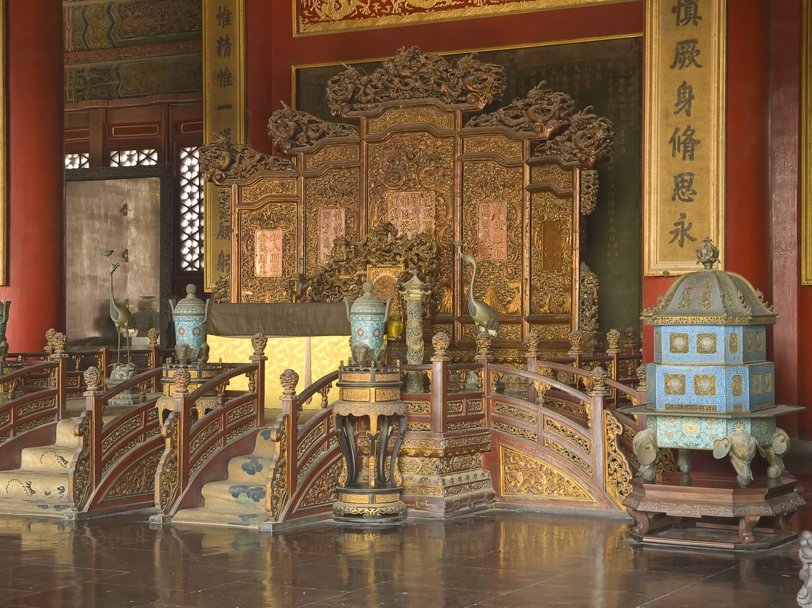 Emperors Throne in Palace of Heavenly Purity in Forbidden City, Beijing, China - China Travel