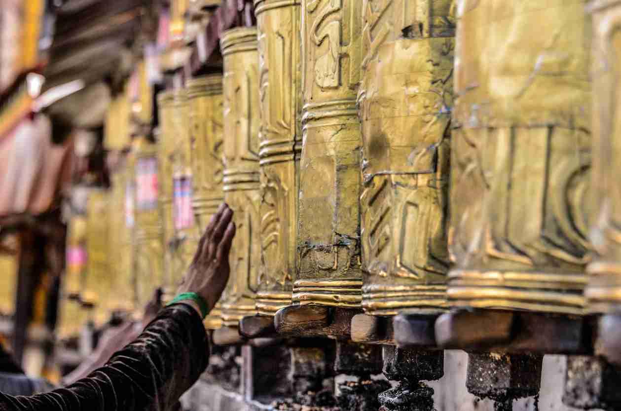 Up close photo of prayer wheels at the Potala Palace - Visit China
